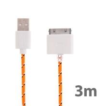 Synchronizační a nabíjecí kabel s 30pin konektorem pro Apple iPhone / iPad / iPod - tkanička - oranžový - 3m