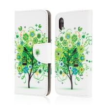 Pouzdro pro Apple iPhone Xr - stojánek + prostor pro platební karty - umělá kůže - strom