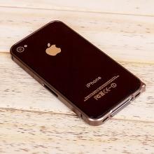 Ochranný ultra tenký hliníkový rámeček / bumper LOVE MEI (tl. 0,7 mm) pro Apple iPhone 4 / 4S - hnědý