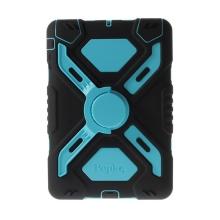 Odolné plasto-silikonové pouzdro se stojánkem a přední ochrannou vrstvou pro Apple iPad mini / mini 2 / mini 3 - modro-černé
