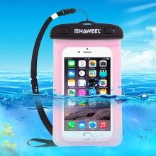 Pouzdro HAWEEL pro Apple iPhone - voděodolné - plast / guma - černé / růžové