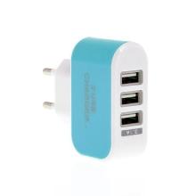 EU napájecí adaptér / nabíječka s 3 USB porty (3.1A) - modrá