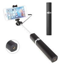 Selfie tyč / monopod ROCK teleskopická - kabelová spoušť - rtěnka - černá