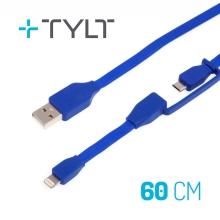 Synchronizažní a nabíjecí kabel TYLT 2v1 - Lightning MFi + Micro USB - 60cm - modrý