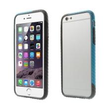 Plasto-gumový rámeček / bumper pro Apple iPhone 6 / 6S - vroubkatý černo-modro-šedý