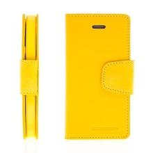 Vyklápěcí pouzdro Mercury Sonata Diary pro Apple iPhone 5 / 5S / SE se stojánkem a prostorem na osobní doklady - žluté