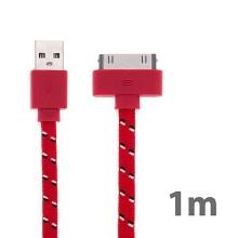 Synchronizační a nabíjecí kabel s 30pin konektorem pro Apple iPhone / iPad / iPod - tkanička - plochý červený - 1m