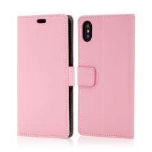 Pouzdro pro Apple iPhone Xs Max - stojánek + prostor pro platební karty - umělá kůže - růžové