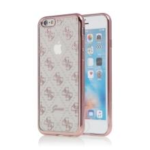 Kryt GUESS pro Apple iPhone 6 / 6S - gumový - průhledný / Rose Gold