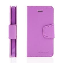 Vyklápěcí pouzdro Mercury Sonata Diary pro Apple iPhone 5 / 5S / SE se stojánkem a prostorem na osobní doklady - fialové