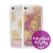 Kryt GUESS Palm Spring Rose pro Apple iPhone 6 / 6S / 7 / 8 - plastový - glitter / růžové třpytky