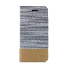 Pouzdro pro Apple iPhone Xs Max - látkové / umělá kůže - stojánek + prostor pro platební kartu - hnědé / šedé