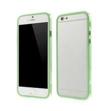 Plasto-gumový rámeček / bumper pro Apple iPhone 6 / 6S - zelený s průhledným pruhem