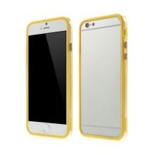 Plasto-gumový rámeček / bumper pro Apple iPhone 6 / 6S - žlutý s průhledným pruhem