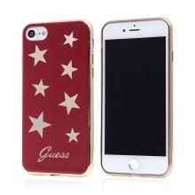 Kryt GUESS STARS pro Apple iPhone 7 / 8 - gumový - zlaté hvězdy / červený
