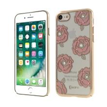 Kryt KAVARO pro Apple iPhone 7 / 8 - plastový - růže a kamínky - zlatý / průhledný