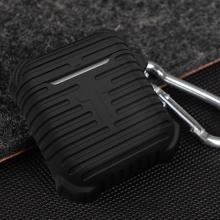 Pouzdro / obal pro Apple AirPods - silikonové - odolné - poutko na zavěšení + karabina - černé