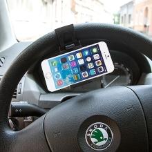 Univerzální držák na volant pro Apple iPhone a další zařízení do šíře cca 8,5cm - černý