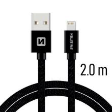 Synchronizační a nabíjecí kabel SWISSTEN - MFi Lightning pro Apple zařízení - tkanička - černý - 2m