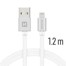 Synchronizační a nabíjecí kabel SWISSTEN - MFi Lightning pro Apple zařízení - tkanička - stříbrný - 1,2m