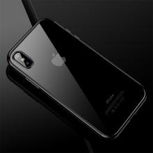 Kryt CAFELE pro Apple iPhone X - gumový / pokovené hrany - průhledný / černý