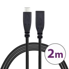 Kabel USB-C male / USB-C female - prodlužovací - 2m - černý
