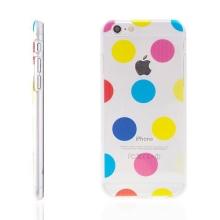 Plastový kryt pro Apple iPhone 6 / 6S - průhledný - barevné puntíky