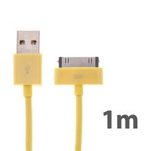Synchronizační a nabíjecí kabel s 30pin konektorem pro Apple iPhone / iPad / iPod - silný - žlutý - 1m