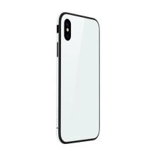 Kryt SULADA pro Apple iPhone Xr - kov / sklo - bílý