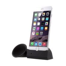 Přenosný silikonový stojánek se zesilovačem zvuku pro Apple iPhone 6 Plus / 6S Plus / 7 Plus - černý