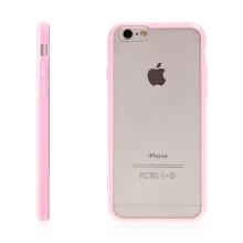 Kryt pro Apple iPhone 6 / 6S - gumový plastový / světle růžový rámeček - matný průhledný
