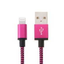 Synchronizační a nabíjecí kabel Lightning - tkanička - černý / fialový - 2m