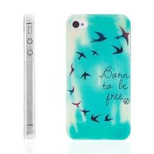 Plastový kryt pro Apple iPhone 4 / 4S - Born To Be Free - ptáci - modrozelené