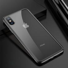 Kryt pro Apple iPhone X - magnetické uchycení - sklo / kov - průhledný / černý