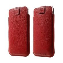 Kožené pouzdro pro Apple iPhone 6 / 6S s vytahovacím poutkem - červené