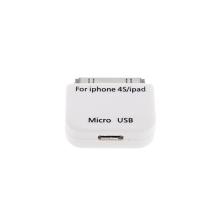 Redukce micro USB / 30pin konektor pro Apple iPhone / iPad / iPod - bílá