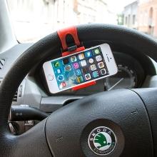 Univerzální držák na volant pro Apple iPhone a další zařízení do šíře cca 8,5cm - černo-červený