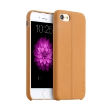 Kryt USAMS pro Apple iPhone 7 / 8 - umělá kůže - světle hnědý