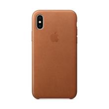 Originální kryt pro Apple iPhone X - kožený - sedlově hnědý