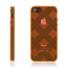 Ochranný gumový kryt pro Apple iPhone 5 / 5S / SE - oranžový se vzorem kosočtverců