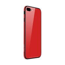 Kryt SULADA pro Apple iPhone 7 Plus / 8 Plus - kov / sklo - červený