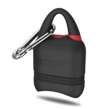 Pouzdro / obal pro Apple AirPods - silikonové - odolné - poutko + karabina - černé / červené
