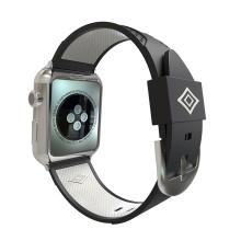 Řemínek pro Apple Watch 44mm Series 4 / 38mm 1 2 3 - silikonový - černý / bílý pruh