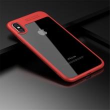 Kryt IPAKY pro Apple iPhone X - plastový / gumový - průhledný / červený