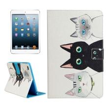 Pouzdro / kryt pro Apple iPad mini / mini 2 / mini 3 / mini 4 - integrovaný stojánek - bílé - kočky