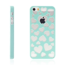 Kryt pro Apple iPhone 5 / 5S / SE plastový srdce zelený