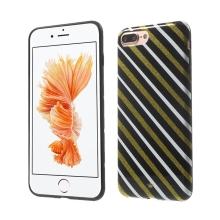 Kryt ISMILE pro Apple iPhone 7 Plus / 8 Plus - gumový - bílé a zlaté pruhy / černý
