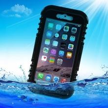 Pouzdro pro Apple iPhone 6 / 6S voděodolné - plast / silikon + šňůrka na krk - černé / průhledné