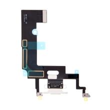 Napájecí a datový konektor s flex kabelem + GSM anténa + mikrofony pro Apple iPhone Xr - bílý - kvalita A+