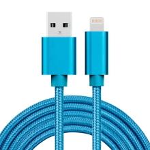 Synchronizační a nabíjecí kabel - Lightning pro Apple zařízení - tkanička - kovové koncovky - modrý - 1m